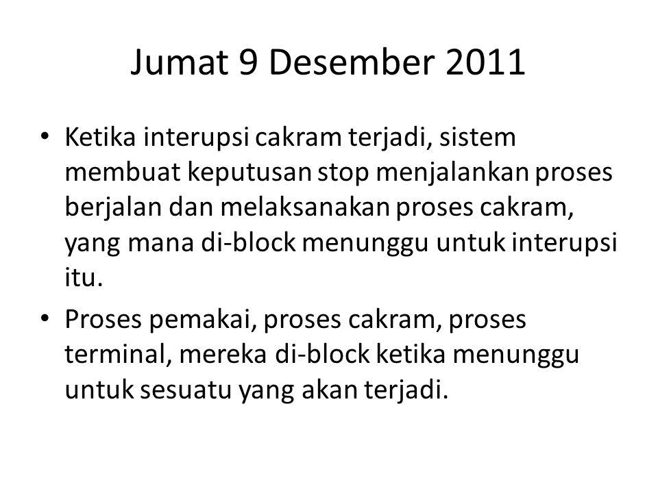 Jumat 9 Desember 2011 • Ketika interupsi cakram terjadi, sistem membuat keputusan stop menjalankan proses berjalan dan melaksanakan proses cakram, yang mana di-block menunggu untuk interupsi itu.