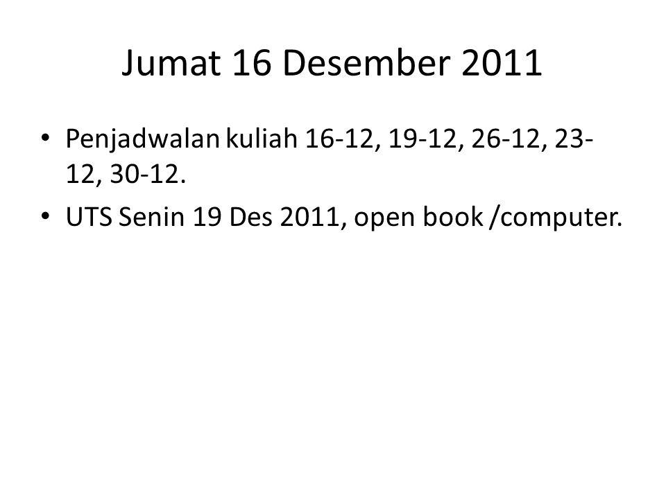 Jumat 16 Desember 2011 • Penjadwalan kuliah 16-12, 19-12, 26-12, 23- 12, 30-12.