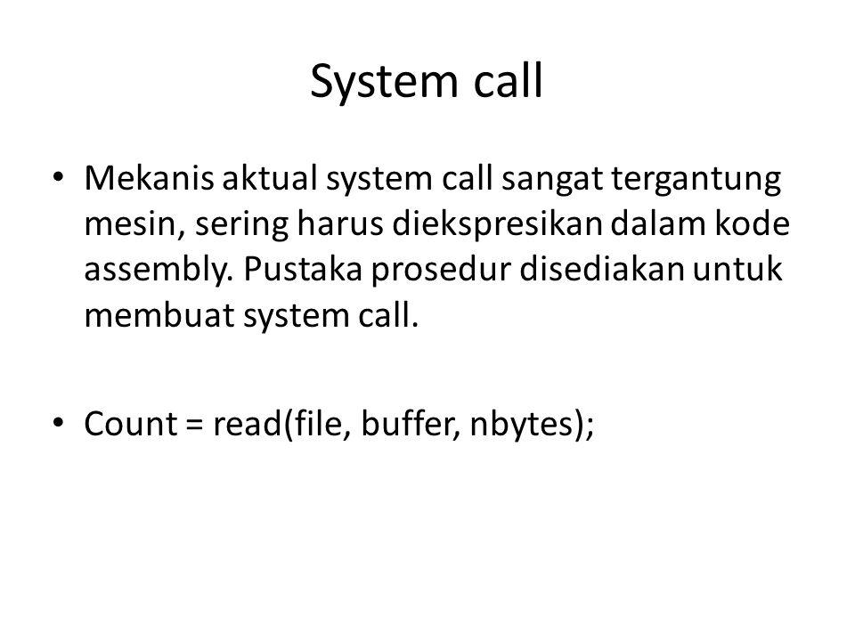 Operating system structure • Kelihatan seperti apa sistem operasi dari sisi luar (antarmuka pemrogram)  • 1) monolithic system • 2) layered system • 3) virtual machines • 4) client-server model