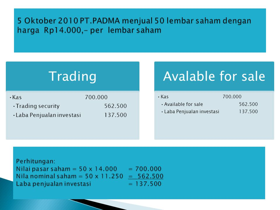 Trading •Kas700.000 •Trading security562.500 •Laba Penjualan investasi137.500 Avalable for sale •Kas700.000 •Available for sale562.500 •Laba Penjualan
