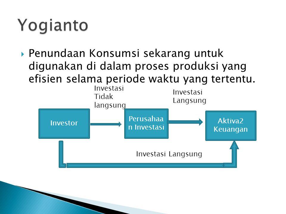  Penundaan Konsumsi sekarang untuk digunakan di dalam proses produksi yang efisien selama periode waktu yang tertentu. Investor Perusahaa n Investasi