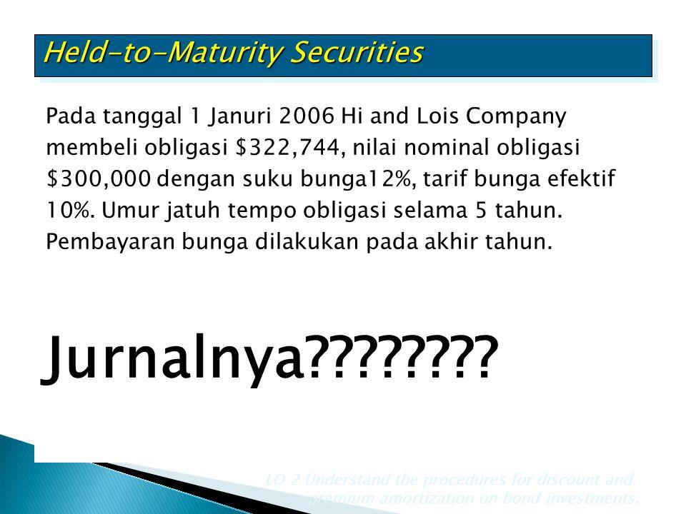 Pada tanggal 1 Januri 2006 Hi and Lois Company membeli obligasi $322,744, nilai nominal obligasi $300,000 dengan suku bunga12%, tarif bunga efektif 10