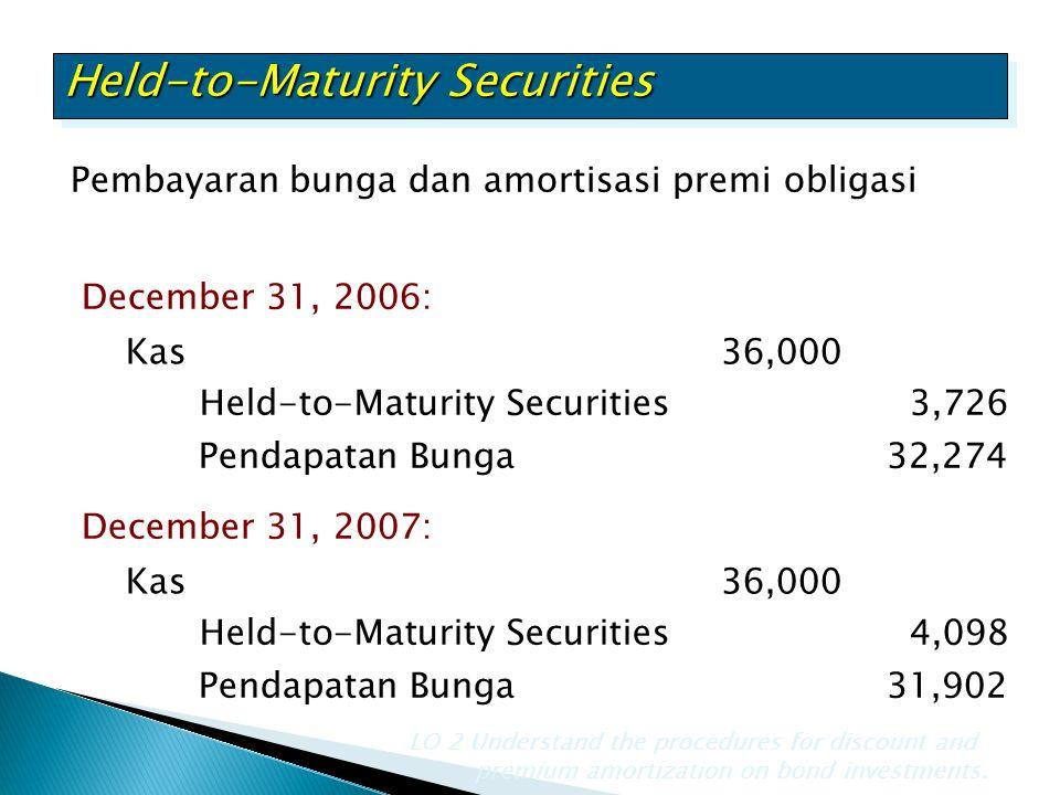 Pembayaran bunga dan amortisasi premi obligasi Held-to-Maturity Securities LO 2 Understand the procedures for discount and premium amortization on bon