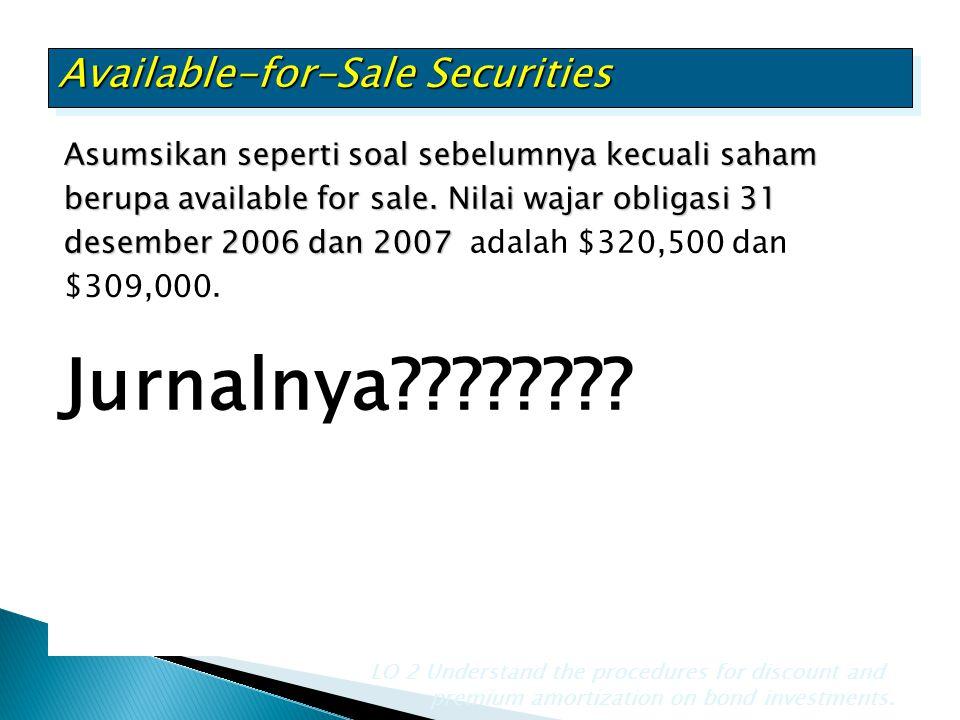 Asumsikan seperti soal sebelumnya kecuali saham berupa available for sale. Nilai wajar obligasi 31 desember 2006 dan 2007 Asumsikan seperti soal sebel