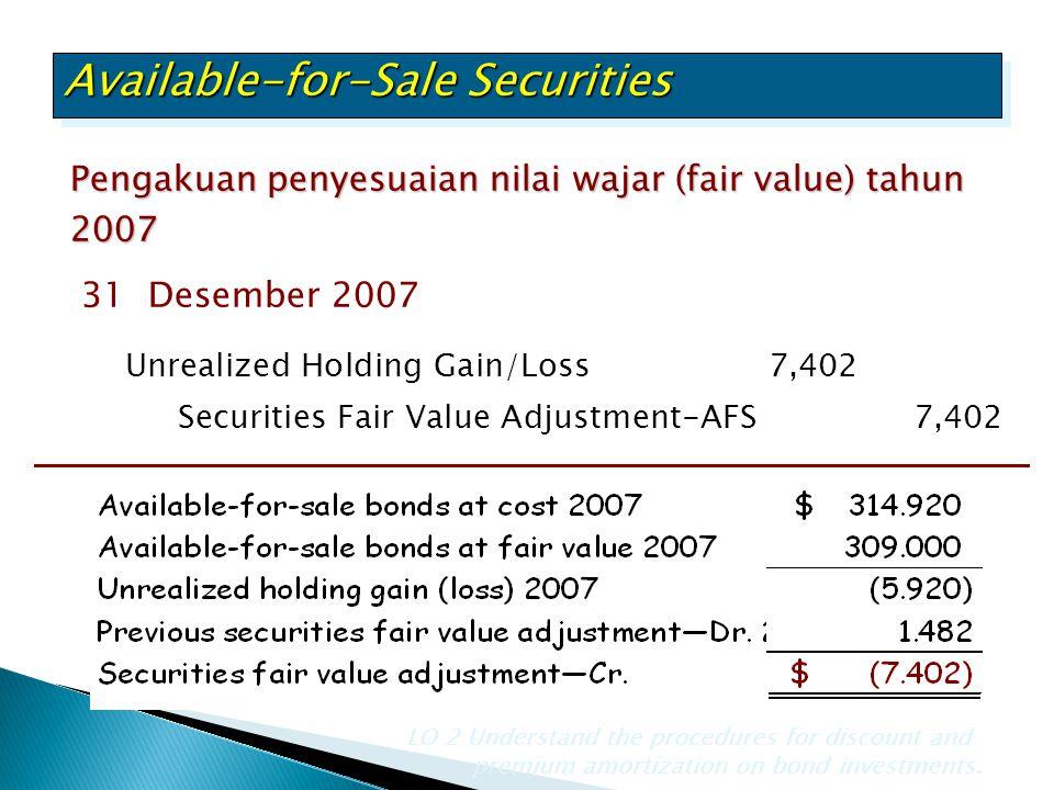 Pengakuan penyesuaian nilai wajar (fair value) tahun 2007 LO 2 Understand the procedures for discount and premium amortization on bond investments. Un
