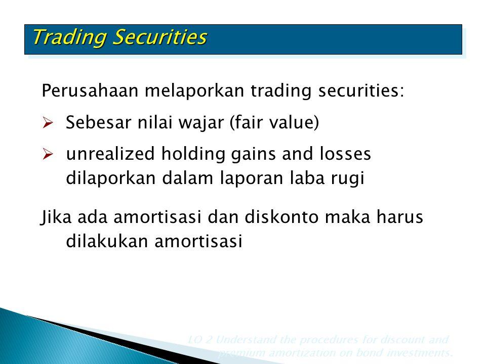 Trading Securities Perusahaan melaporkan trading securities:  Sebesar nilai wajar (fair value)  unrealized holding gains and losses dilaporkan dalam