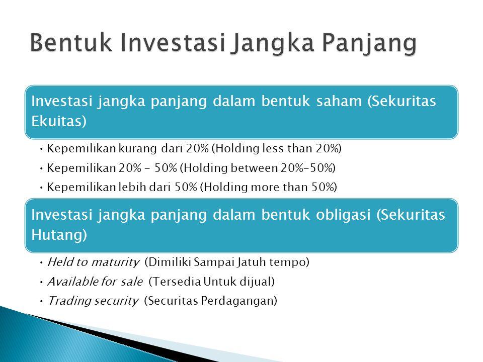 Investasi jangka panjang dalam bentuk saham (Sekuritas Ekuitas) •Kepemilikan kurang dari 20% (Holding less than 20%) •Kepemilikan 20% - 50% (Holding b