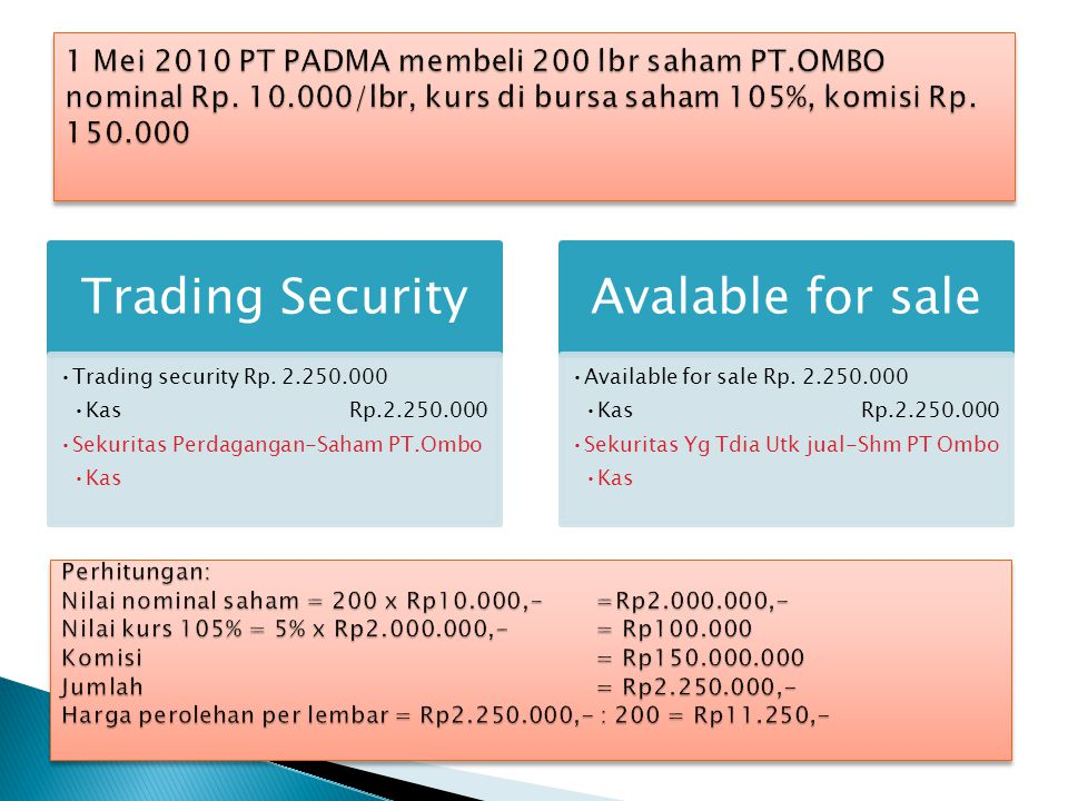 Trading Security •Trading security Rp. 2.250.000 •KasRp.2.250.000 •Sekuritas Perdagangan-Saham PT.Ombo •Kas Avalable for sale •Available for sale Rp.