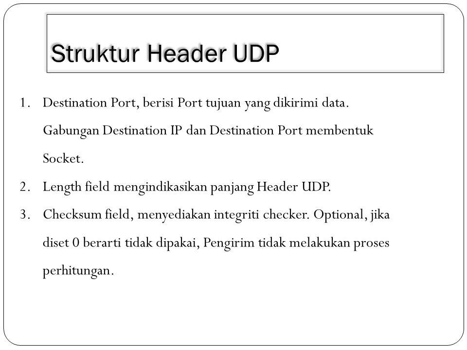 Struktur Header UDP 1.Destination Port, berisi Port tujuan yang dikirimi data. Gabungan Destination IP dan Destination Port membentuk Socket. 2.Length