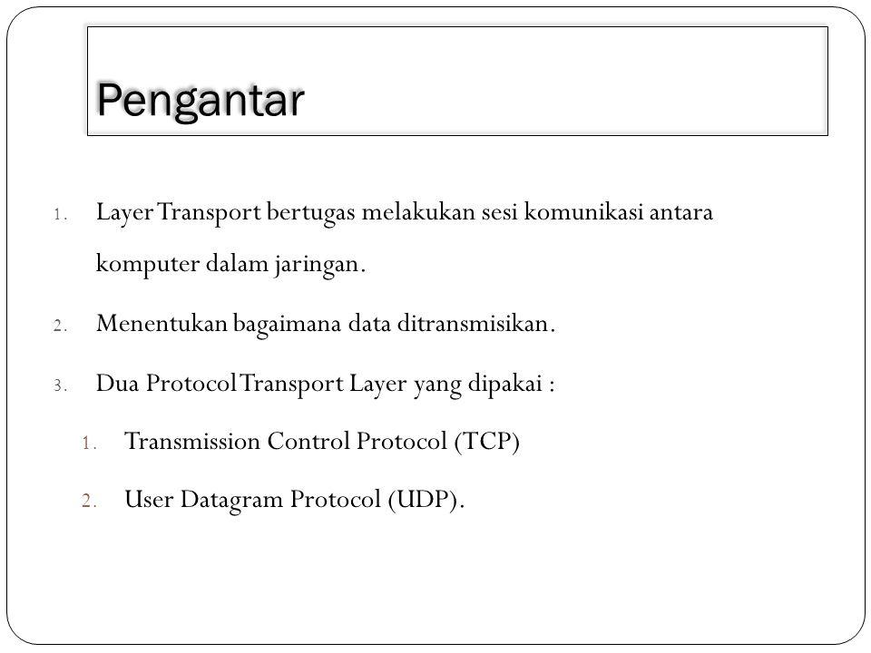 Pengantar 1. Layer Transport bertugas melakukan sesi komunikasi antara komputer dalam jaringan. 2. Menentukan bagaimana data ditransmisikan. 3. Dua Pr