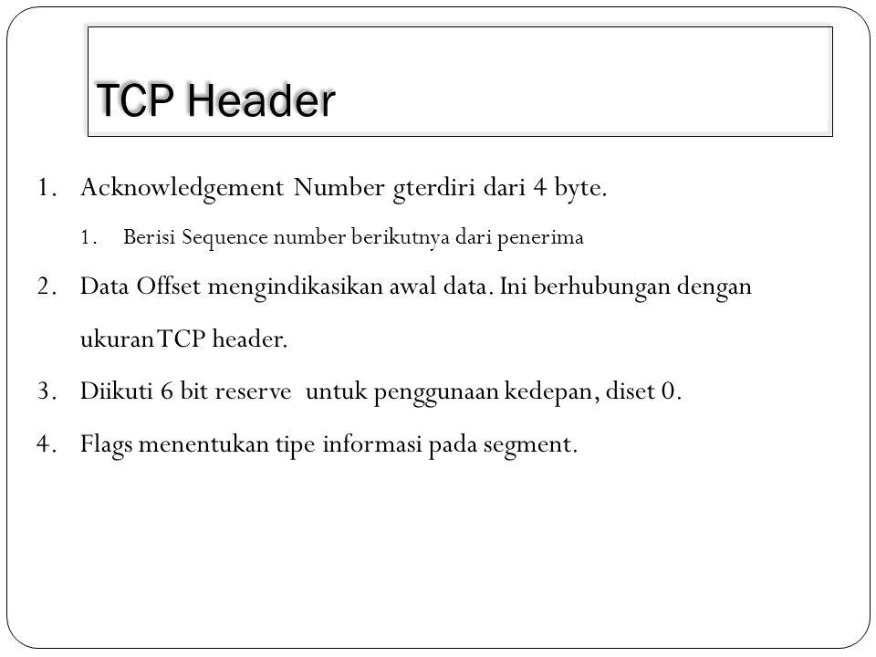 TCP Header 1.Acknowledgement Number gterdiri dari 4 byte. 1.Berisi Sequence number berikutnya dari penerima 2.Data Offset mengindikasikan awal data. I
