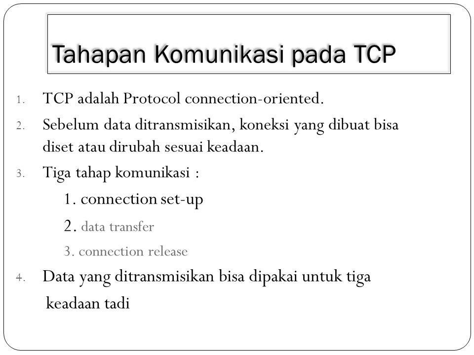 Tahapan Komunikasi pada TCP 1. TCP adalah Protocol connection-oriented. 2. Sebelum data ditransmisikan, koneksi yang dibuat bisa diset atau dirubah se