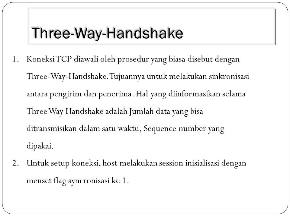 Three-Way-Handshake 1.Koneksi TCP diawali oleh prosedur yang biasa disebut dengan Three-Way-Handshake. Tujuannya untuk melakukan sinkronisasi antara p