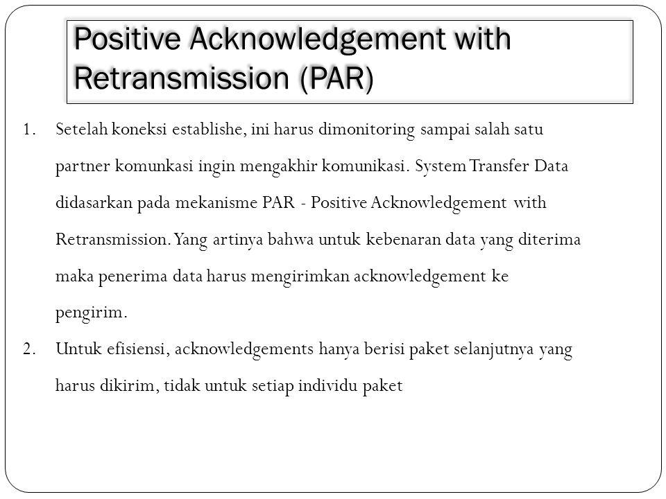 Positive Acknowledgement with Retransmission (PAR) 1.Setelah koneksi establishe, ini harus dimonitoring sampai salah satu partner komunkasi ingin meng