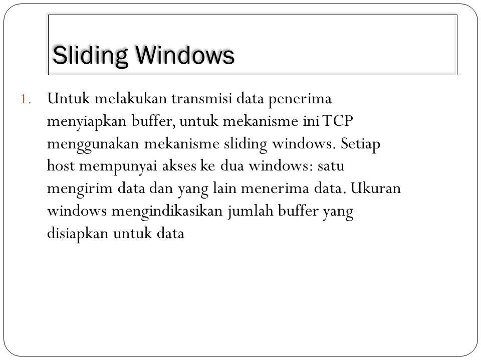 Sliding Windows 1. Untuk melakukan transmisi data penerima menyiapkan buffer, untuk mekanisme ini TCP menggunakan mekanisme sliding windows. Setiap ho