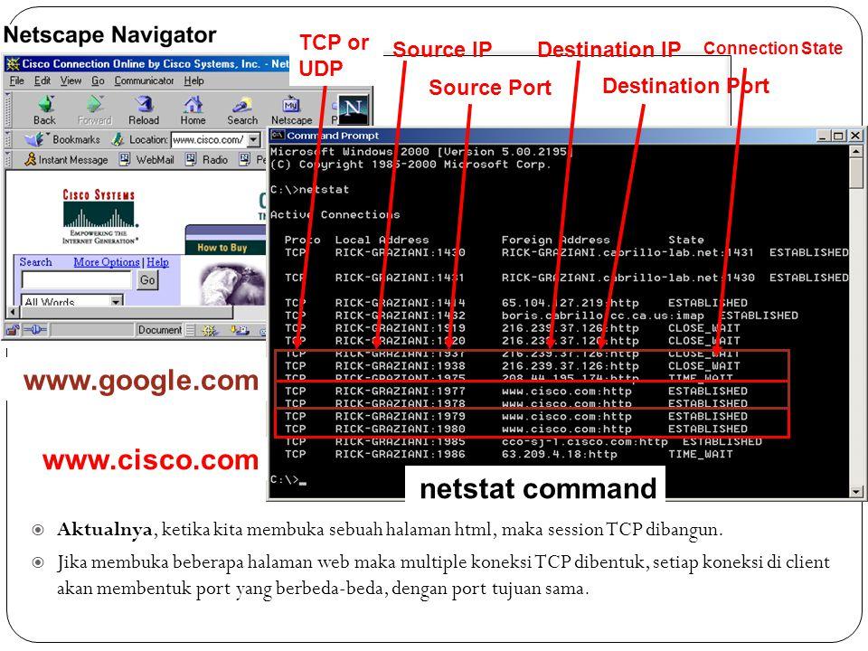 Sliding Window  Aktualnya, ketika kita membuka sebuah halaman html, maka session TCP dibangun.  Jika membuka beberapa halaman web maka multiple kone
