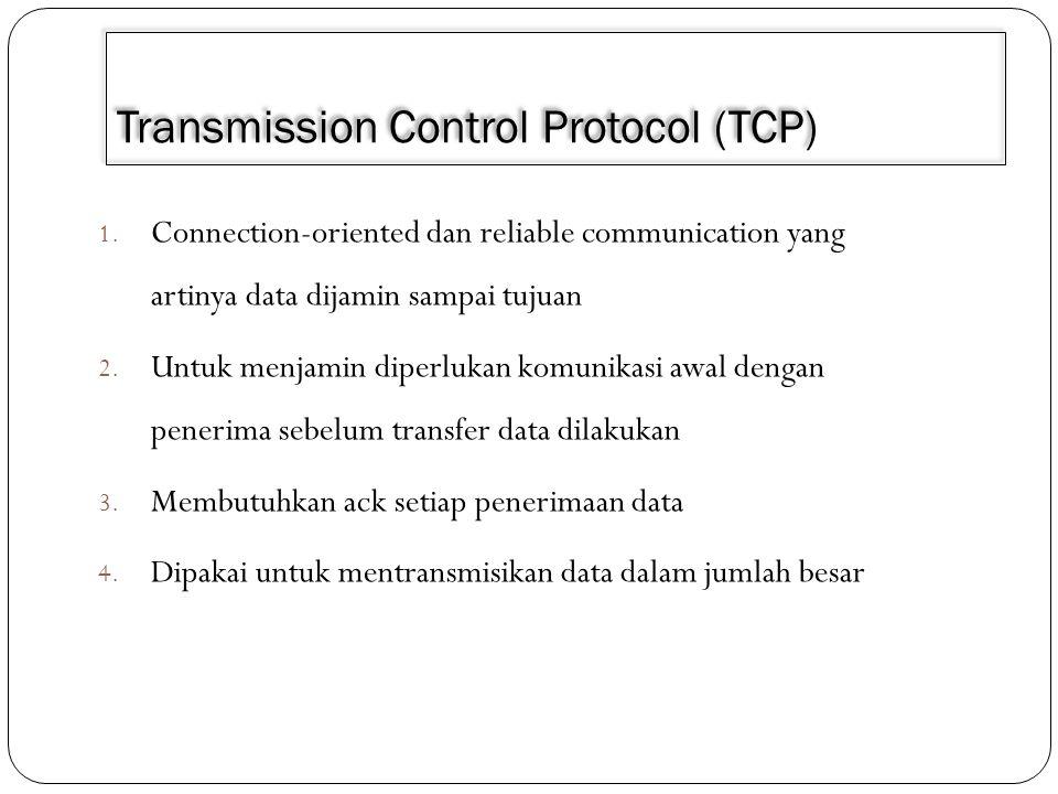 TCP 1.TCP merupakan protocol connection-oriented, yang artinya data hanya bisa ditransmisikan setelah ada proses negosiasi terlebih dahulu antara pengirim dan penerima 2.Negosiasi diantaranya berupa : Berapa data yang bisa dikirim dalam satu waktu, nomor urut yang dipakai setiap pengiriman data dll.