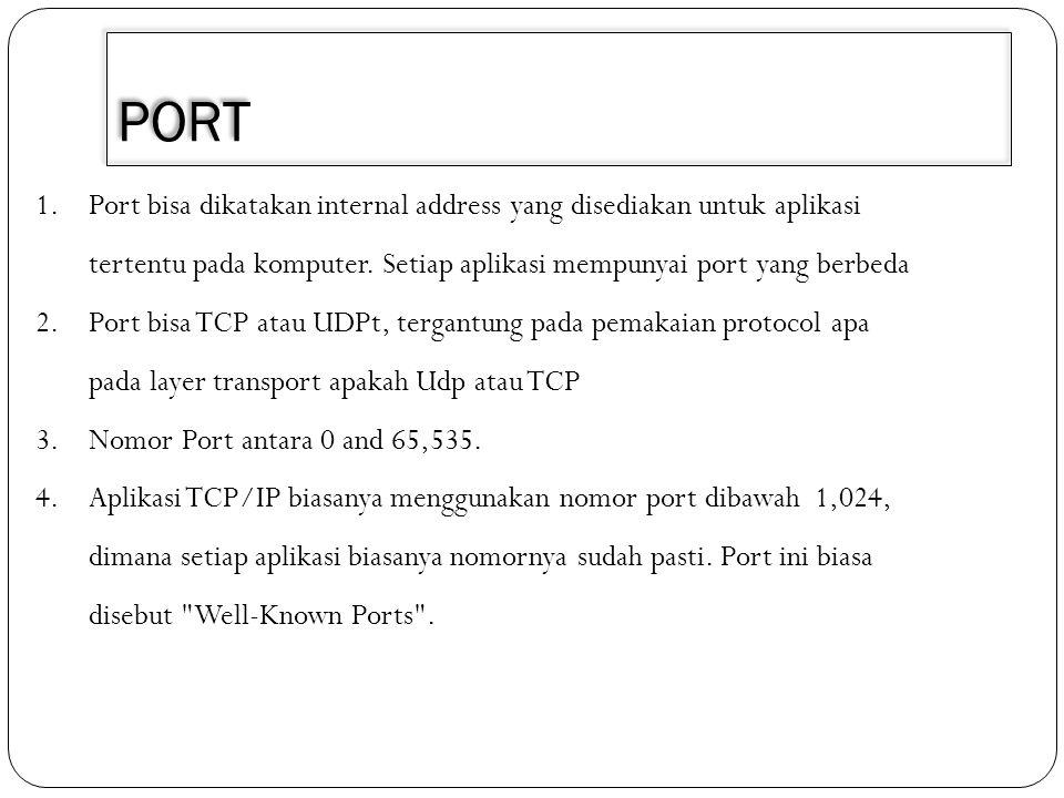 PORT 1.Port bisa dikatakan internal address yang disediakan untuk aplikasi tertentu pada komputer. Setiap aplikasi mempunyai port yang berbeda 2.Port