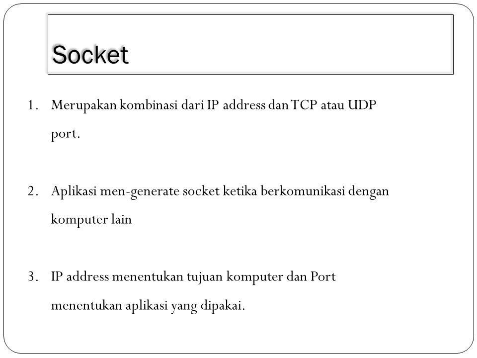 Socket 1.Merupakan kombinasi dari IP address dan TCP atau UDP port. 2.Aplikasi men-generate socket ketika berkomunikasi dengan komputer lain 3.IP addr