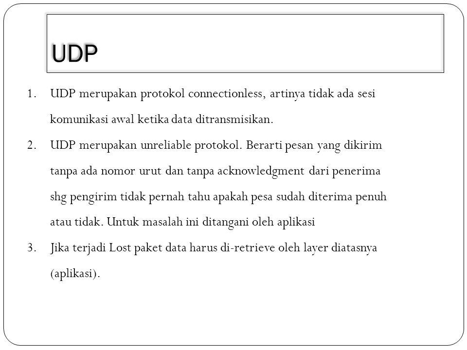 UDP 4.Biasanya message UDP ditransmisikan secara regular dalam interval waktu tertentu atau setelah ditentukan batas waktu habis 5.Hanya membutuhkan sedikit resource memori dan processor 6.Contoh aplikasi yang menggunakan Protocol UDP Domain Name System(DNS) dan Dynamic Host Configuration Protocol(DHCP).