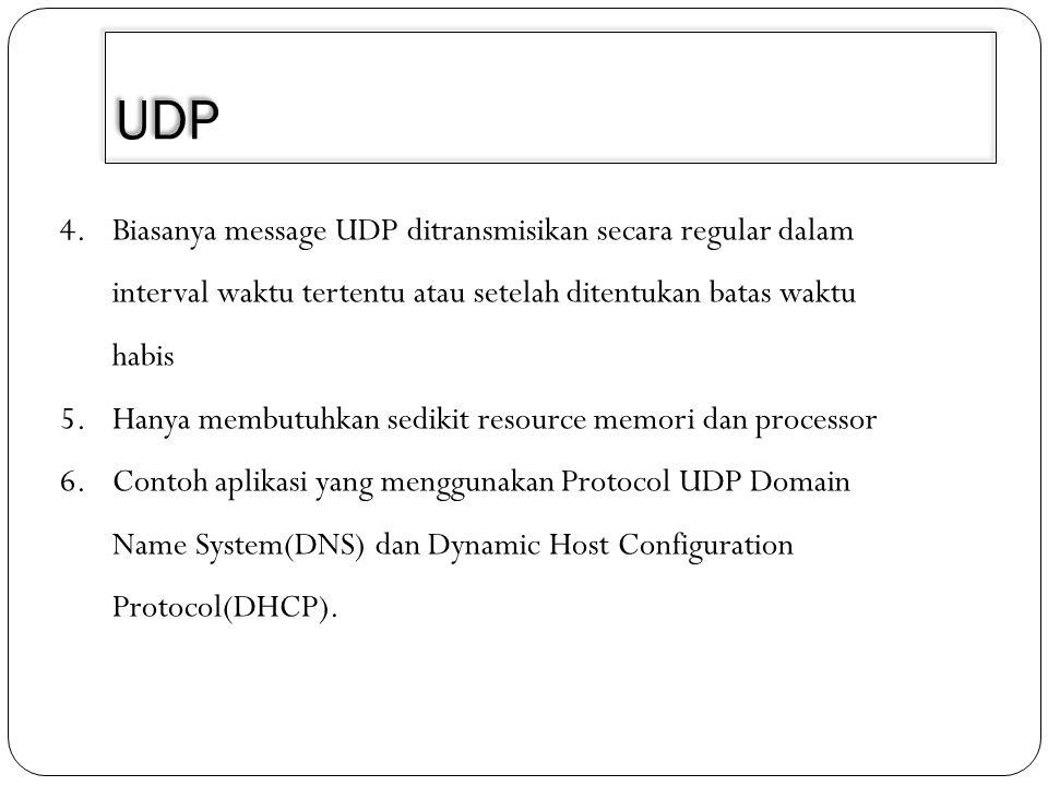 UDP 4.Biasanya message UDP ditransmisikan secara regular dalam interval waktu tertentu atau setelah ditentukan batas waktu habis 5.Hanya membutuhkan s