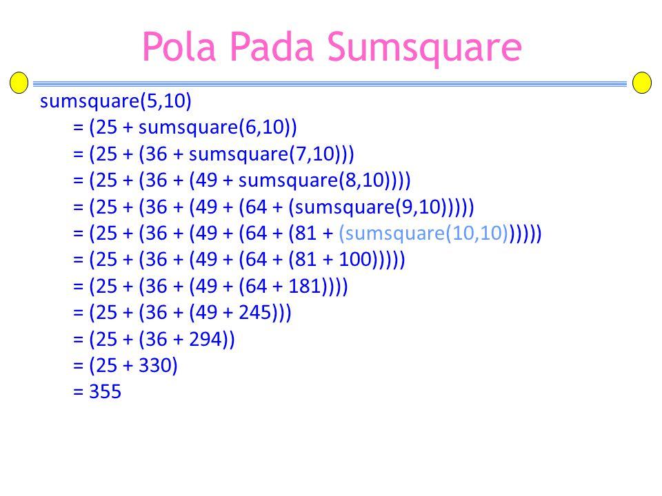 Pola Pada Sumsquare sumsquare(5,10) = (25 + sumsquare(6,10)) = (25 + (36 + sumsquare(7,10))) = (25 + (36 + (49 + sumsquare(8,10)))) = (25 + (36 + (49
