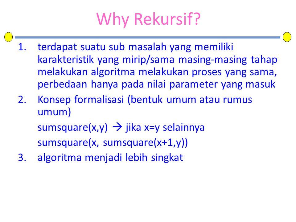 Why Rekursif? 1.terdapat suatu sub masalah yang memiliki karakteristik yang mirip/sama masing-masing tahap melakukan algoritma melakukan proses yang s