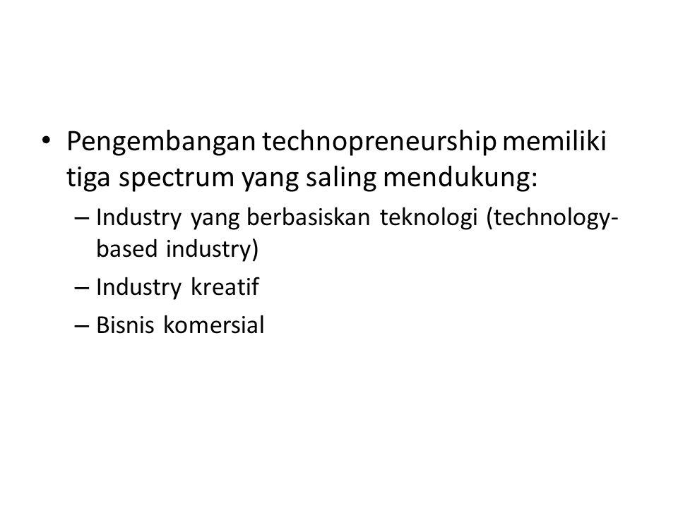 • Pengembangan technopreneurship memiliki tiga spectrum yang saling mendukung: – Industry yang berbasiskan teknologi (technology- based industry) – Industry kreatif – Bisnis komersial