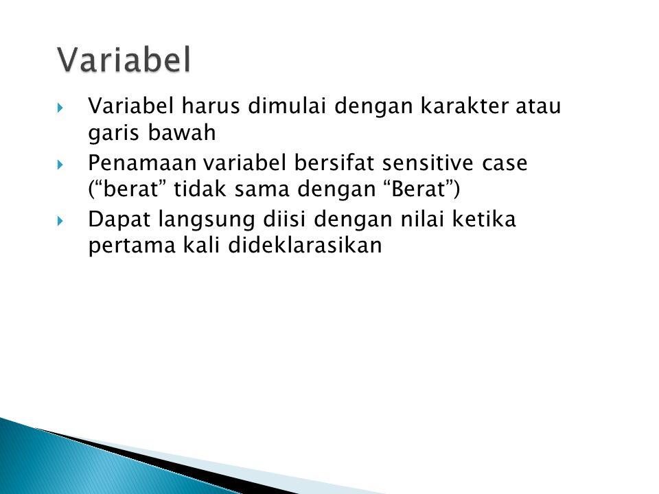 """ Variabel harus dimulai dengan karakter atau garis bawah  Penamaan variabel bersifat sensitive case (""""berat"""" tidak sama dengan """"Berat"""")  Dapat lang"""