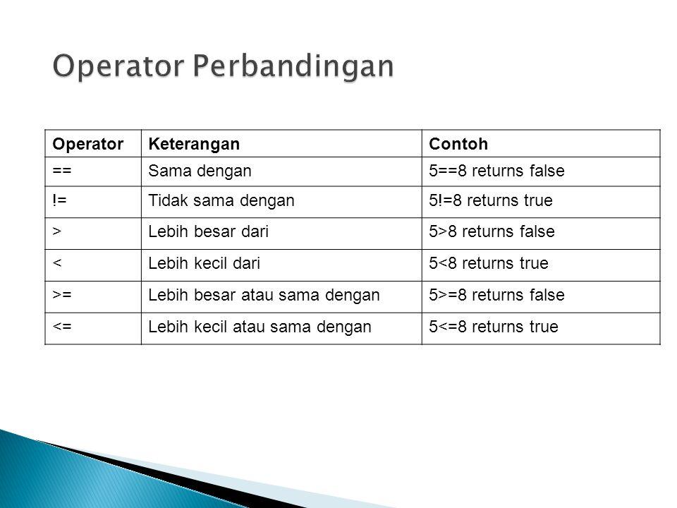 OperatorKeteranganContoh ==Sama dengan5==8 returns false !=Tidak sama dengan5!=8 returns true >Lebih besar dari5>8 returns false <Lebih kecil dari5<8 returns true >=Lebih besar atau sama dengan5>=8 returns false <=Lebih kecil atau sama dengan5<=8 returns true