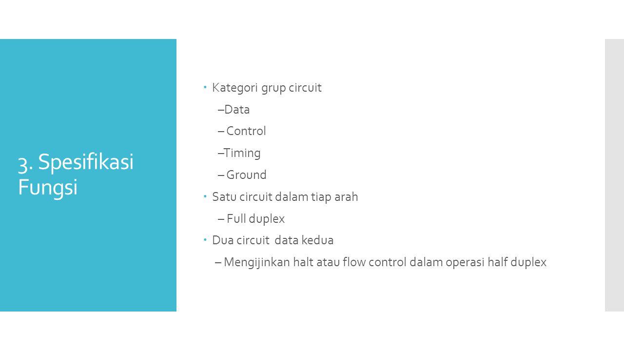 3. Spesifikasi Fungsi  Kategori grup circuit –Data – Control –Timing – Ground  Satu circuit dalam tiap arah – Full duplex  Dua circuit data kedua –