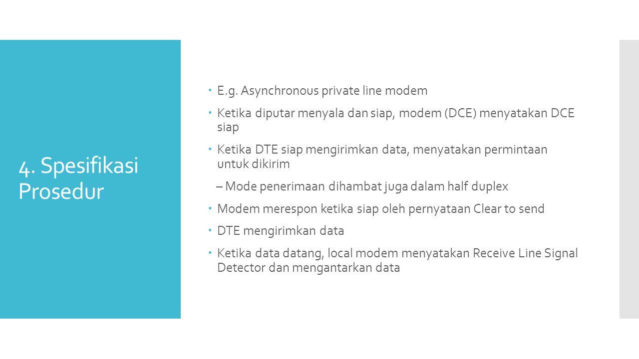 4. Spesifikasi Prosedur  E.g. Asynchronous private line modem  Ketika diputar menyala dan siap, modem (DCE) menyatakan DCE siap  Ketika DTE siap me