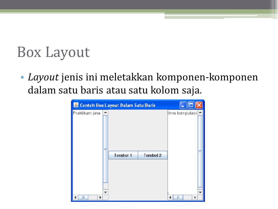 Box Layout • Layout jenis ini meletakkan komponen-komponen dalam satu baris atau satu kolom saja.
