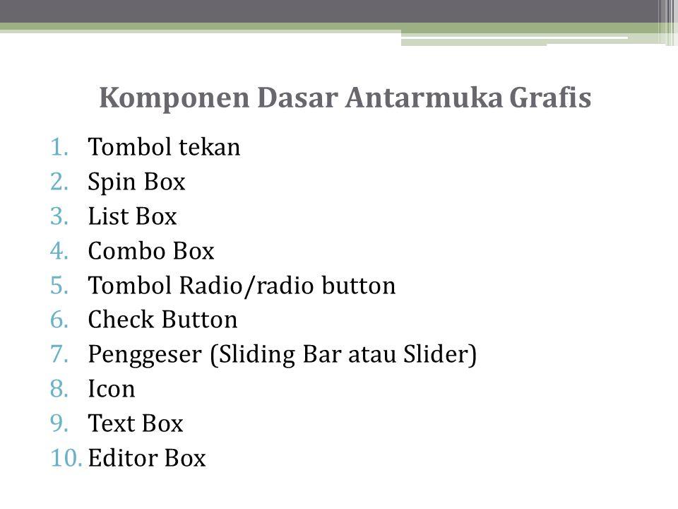 Komponen Dasar Antarmuka Grafis 1.Tombol tekan 2.Spin Box 3.List Box 4.Combo Box 5.Tombol Radio/radio button 6.Check Button 7.Penggeser (Sliding Bar atau Slider) 8.Icon 9.Text Box 10.Editor Box