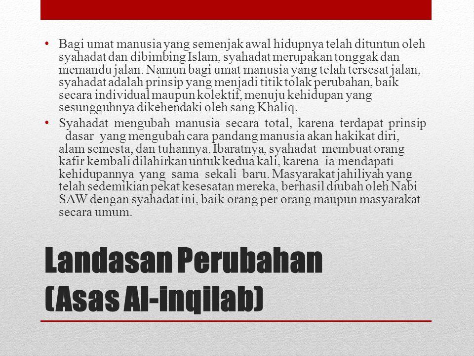 Landasan Perubahan (Asas Al-inqilab) • Bagi umat manusia yang semenjak awal hidupnya telah dituntun oleh syahadat dan dibimbing Islam, syahadat merupa
