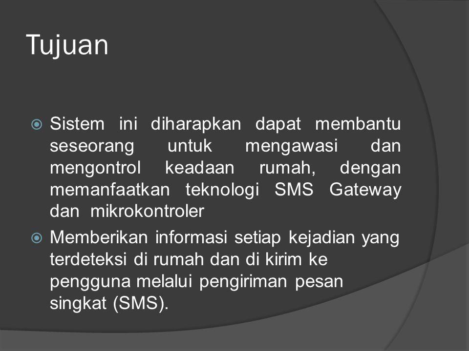 Tujuan  Sistem ini diharapkan dapat membantu seseorang untuk mengawasi dan mengontrol keadaan rumah, dengan memanfaatkan teknologi SMS Gateway dan mi
