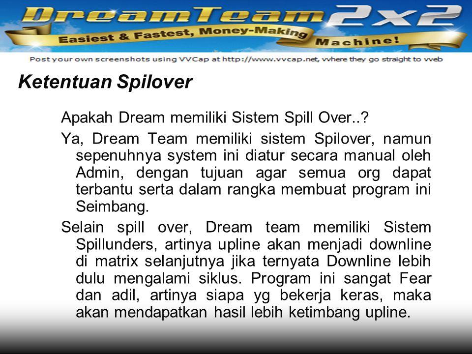 Ketentuan Spilover Apakah Dream memiliki Sistem Spill Over..? Ya, Dream Team memiliki sistem Spilover, namun sepenuhnya system ini diatur secara manua