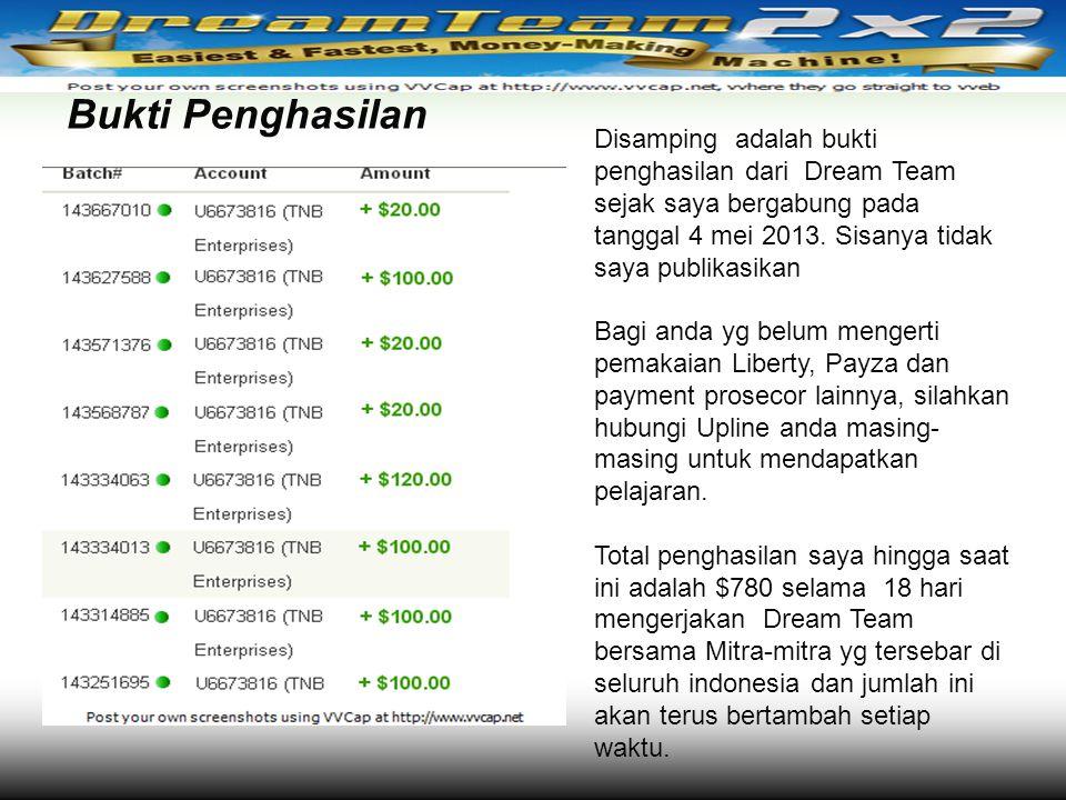 Bukti Penghasilan Disamping adalah bukti penghasilan dari Dream Team sejak saya bergabung pada tanggal 4 mei 2013. Sisanya tidak saya publikasikan Bag