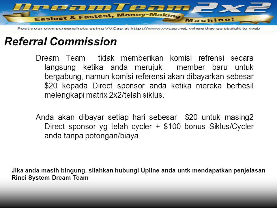 Referral Commission Dream Team tidak memberikan komisi refrensi secara langsung ketika anda merujuk member baru untuk bergabung, namun komisi referens