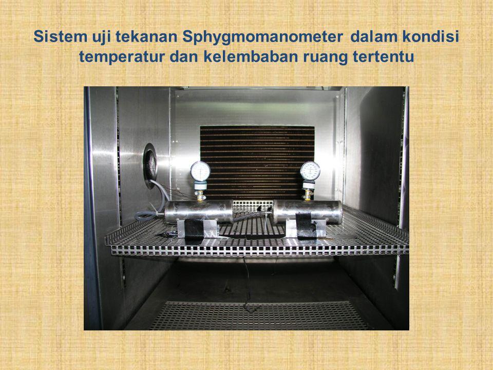 Sistem uji tekanan Sphygmomanometer dalam kondisi temperatur dan kelembaban ruang tertentu