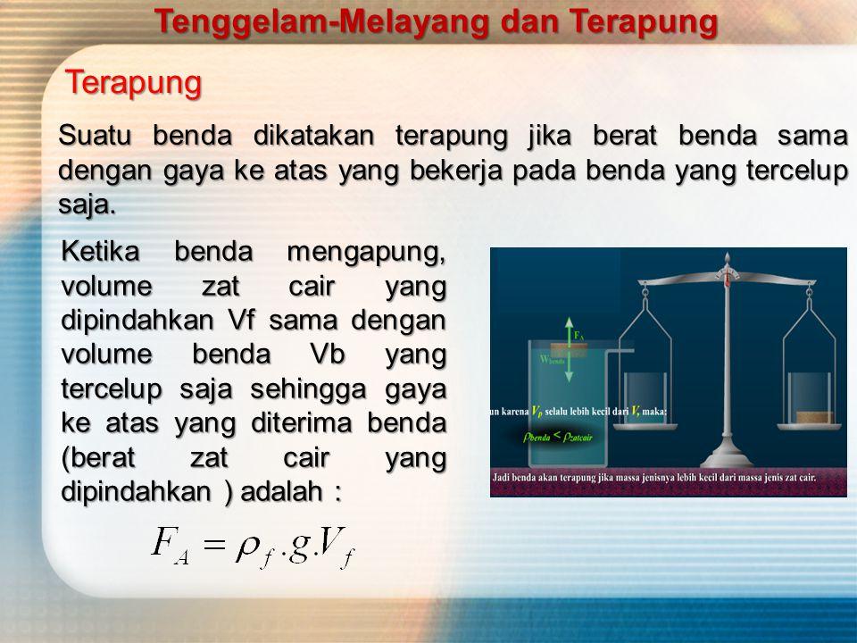 Karena Wb = FA (syarat tenggelam ),maka ρ b = massa jenis benda (kg/m 3 ) ρ f = massa jenis zat cair(kg/m 3 ) Tenggelam-Melayang dan Terapung
