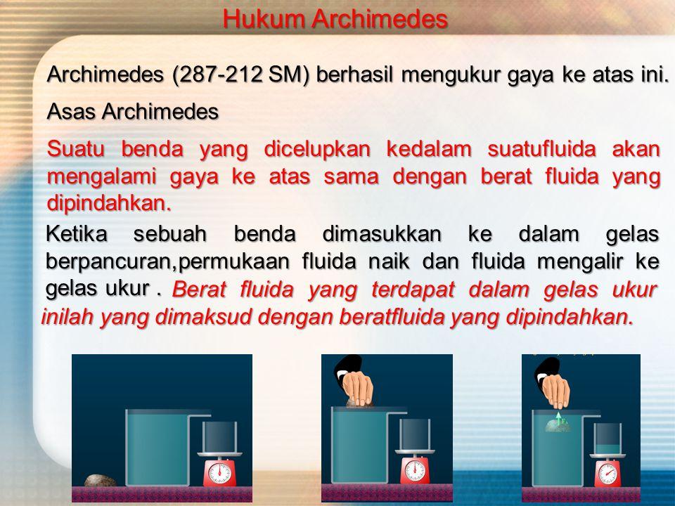 Archimedes (287-212 SM) berhasil mengukur gaya ke atas ini.