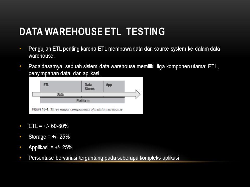 Tujuan utama dari pengujian ETL adalah sebagai berikut: • Untuk memastikan mendapatkan semua data yang dibutuhkan, dengan kata lain, tidak melewatkan update suatu data dalam source system • Untuk memastikan data yang benar dimasukkan ke dalam data warehouse.