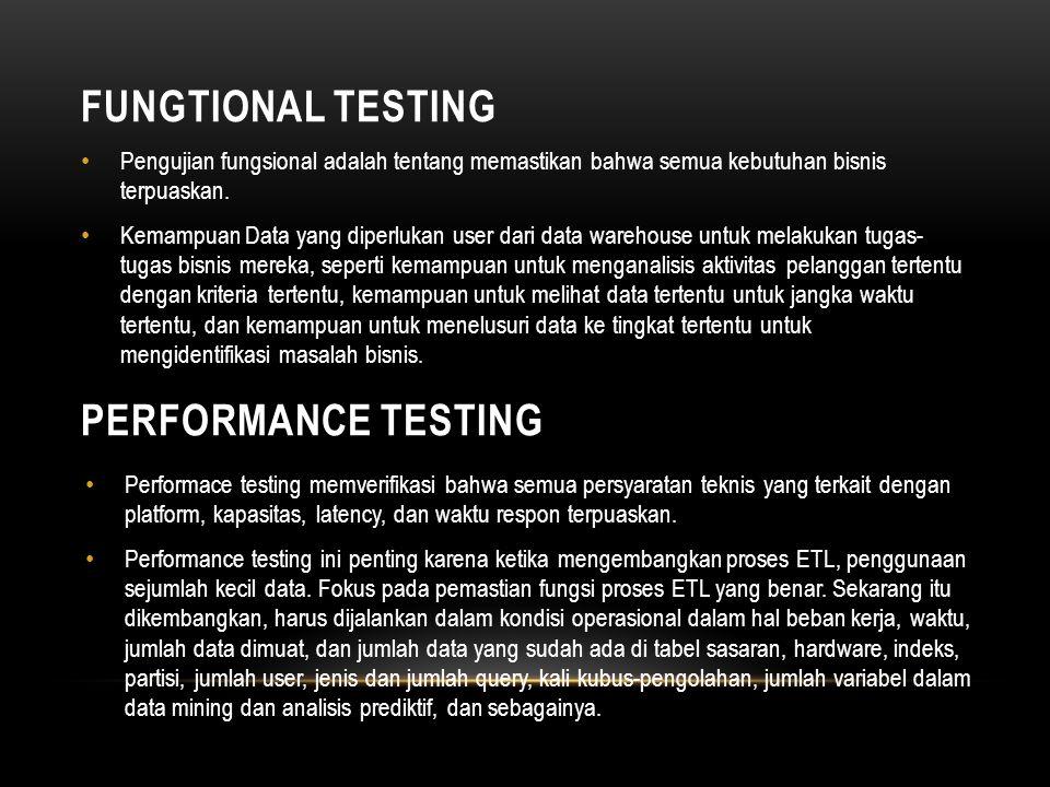 FUNGTIONAL TESTING • Pengujian fungsional adalah tentang memastikan bahwa semua kebutuhan bisnis terpuaskan.