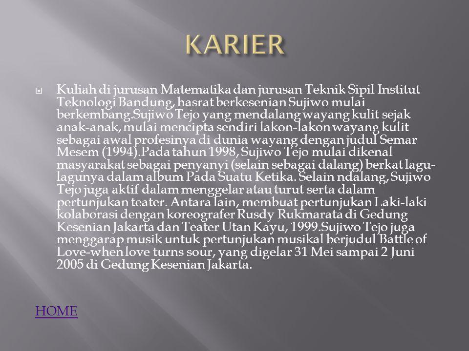 Kuliah di jurusan Matematika dan jurusan Teknik Sipil Institut Teknologi Bandung, hasrat berkesenian Sujiwo mulai berkembang.Sujiwo Tejo yang mendal