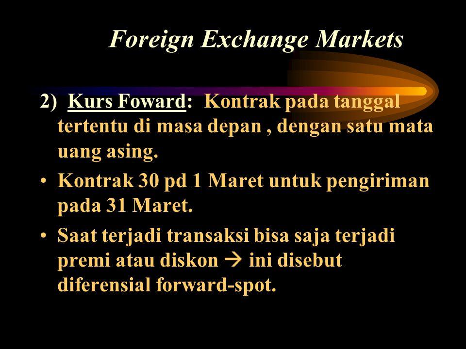 Foreign Exchange Markets 2) Kurs Foward: Kontrak pada tanggal tertentu di masa depan, dengan satu mata uang asing. •Kontrak 30 pd 1 Maret untuk pengir