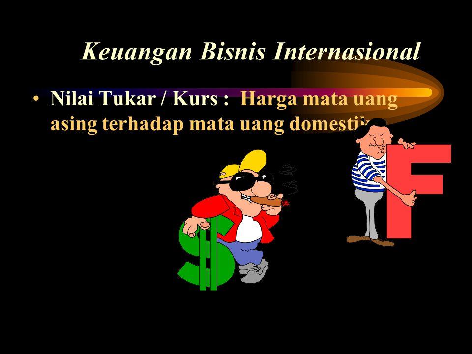 Keuangan Bisnis Internasional •Nilai Tukar / Kurs : Harga mata uang asing terhadap mata uang domestik.