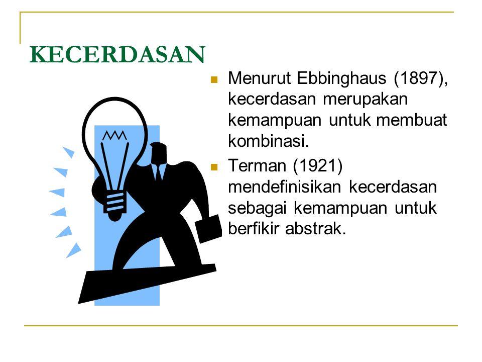 KECERDASAN  Menurut Ebbinghaus (1897), kecerdasan merupakan kemampuan untuk membuat kombinasi.  Terman (1921) mendefinisikan kecerdasan sebagai kema