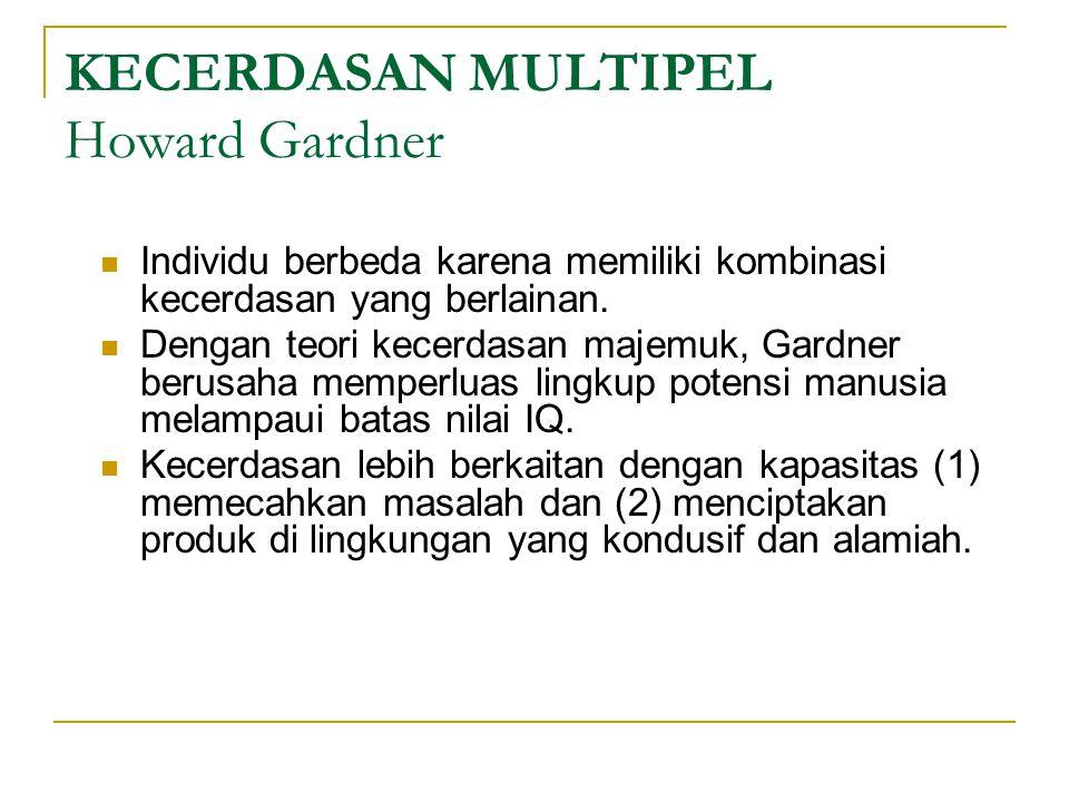KECERDASAN MULTIPEL Howard Gardner  Individu berbeda karena memiliki kombinasi kecerdasan yang berlainan.  Dengan teori kecerdasan majemuk, Gardner