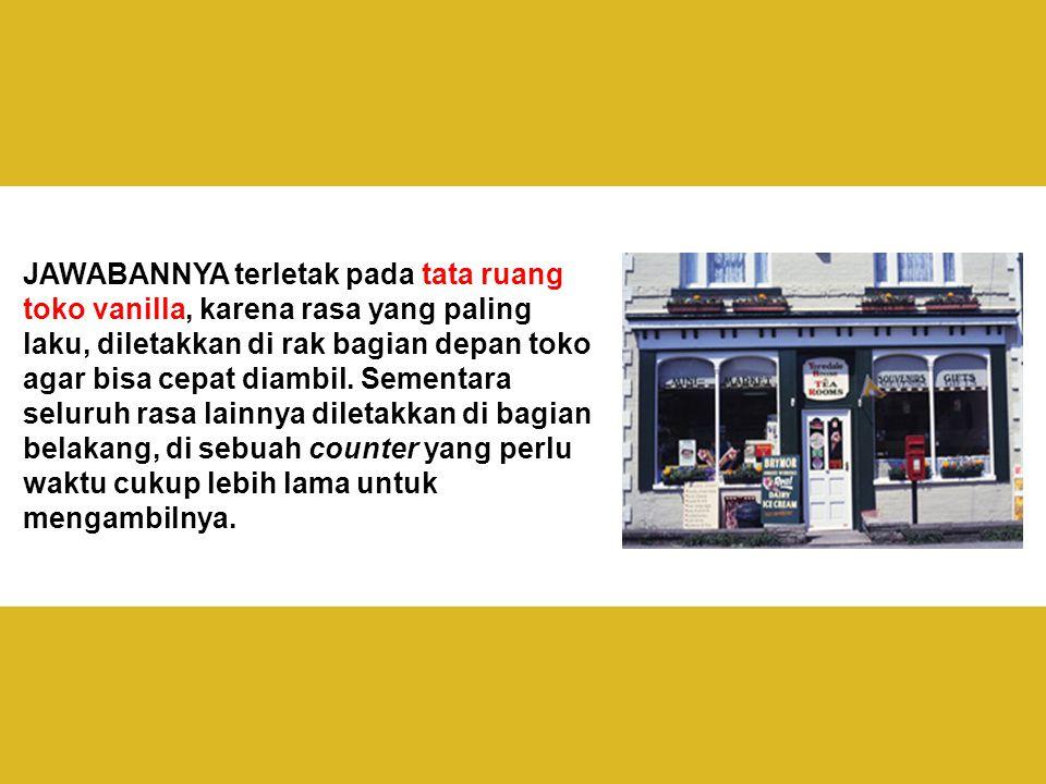 JAWABANNYA terletak pada tata ruang toko vanilla, karena rasa yang paling laku, diletakkan di rak bagian depan toko agar bisa cepat diambil.